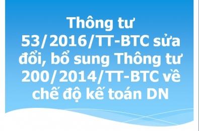 THÔNG TƯ 53/2016/TT-BTC: SỬA ĐỔI, BỔ SUNG MỘT SỐ ĐIỀU CỦA THÔNG TƯ 200/2014/TT-BTC