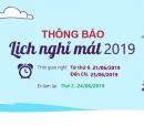 Summer vacation calendar announcement 2019_Asiasoft HN