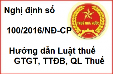 Decree 100/2016 / ND-CP amending several tax provisions applicable 01.07.2016