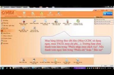 Hướng dẫn sử dụng phần mềm Simba: Mua hàng không nhập kho