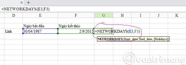 Hàm tính số ngày làm việc Networsday